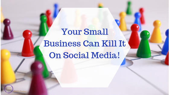 chess pieces of different colors with the words your small business can kill it on social media