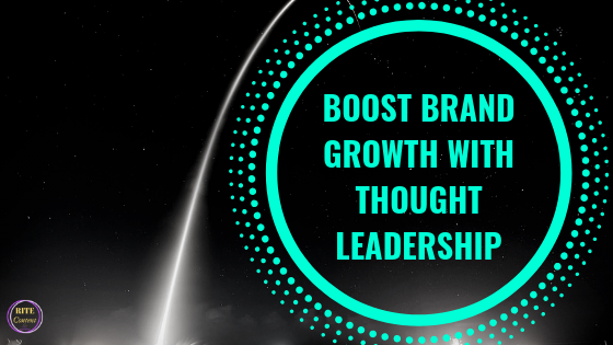 a streak of light with a bright green tire illustration in a circle with the words Boost Brand Growth WIth Thought Leadership