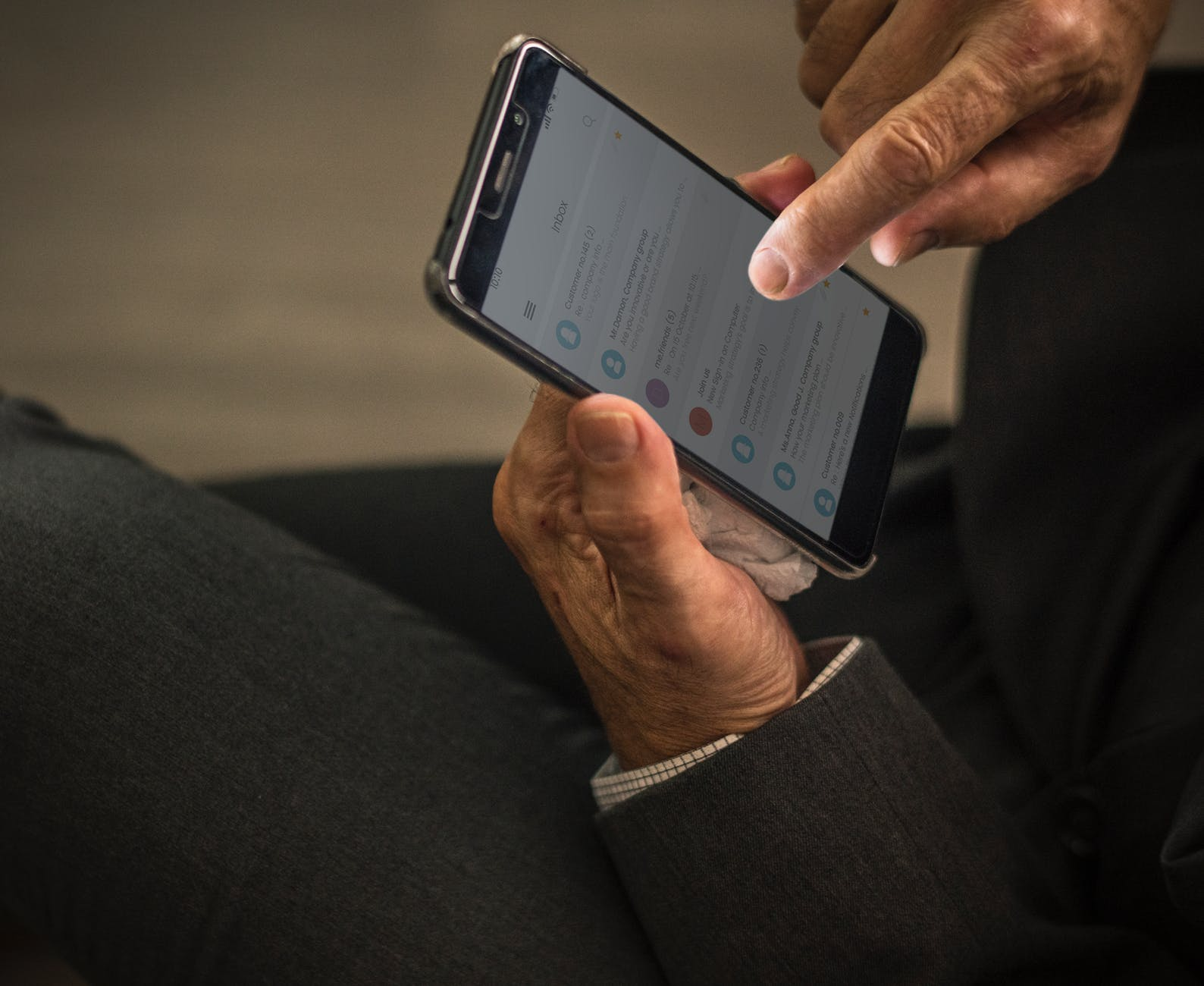 a person holding a cell phone