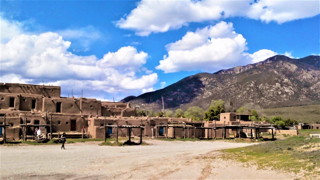 mountain backdrop, showing Pueblo Indian housing in Taos, New Mexico