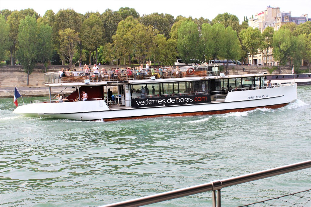 a boat speeding along on the River Seine