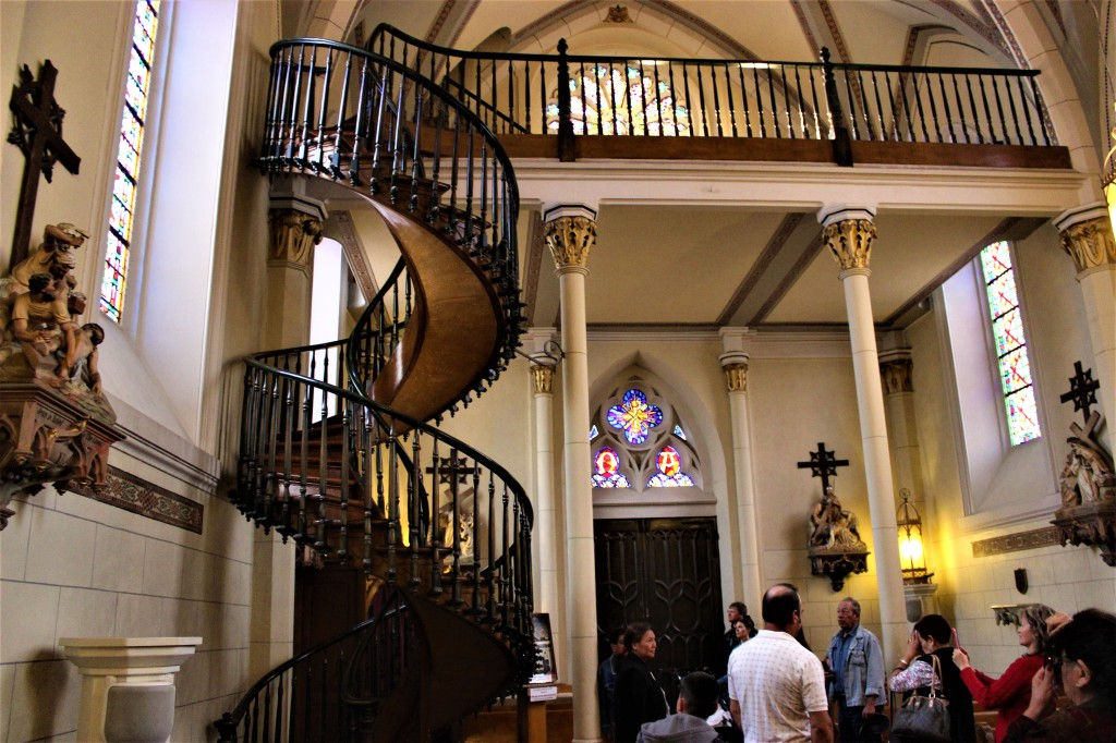 The inside of the chapel showing the miraculous stairway