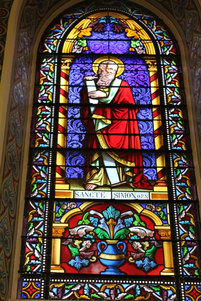STained glass inside th chapel showing Saint Simon
