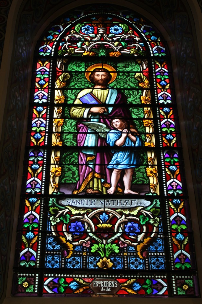 Stained glass showing Saint Mathew