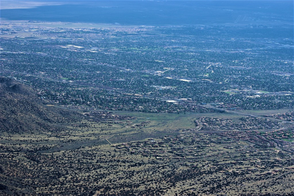 view from teh top of the Sandia Peak of Albuquerque city in the distance