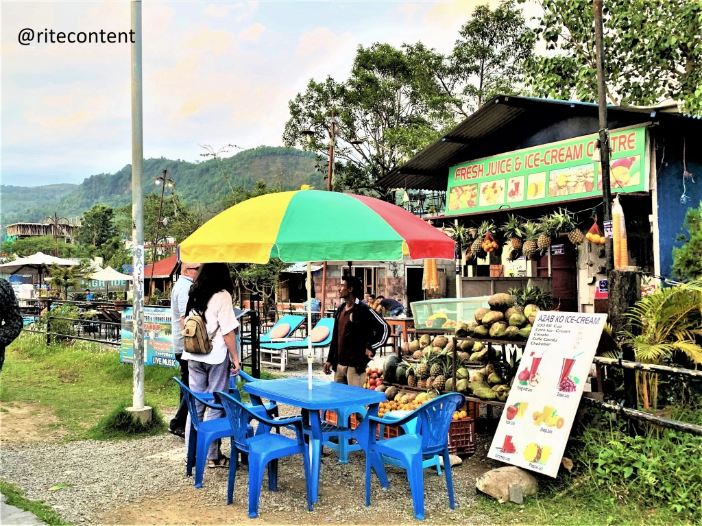 lakeside restaurants at Phewa Lake., Pokhara. Places to see in Nepal.