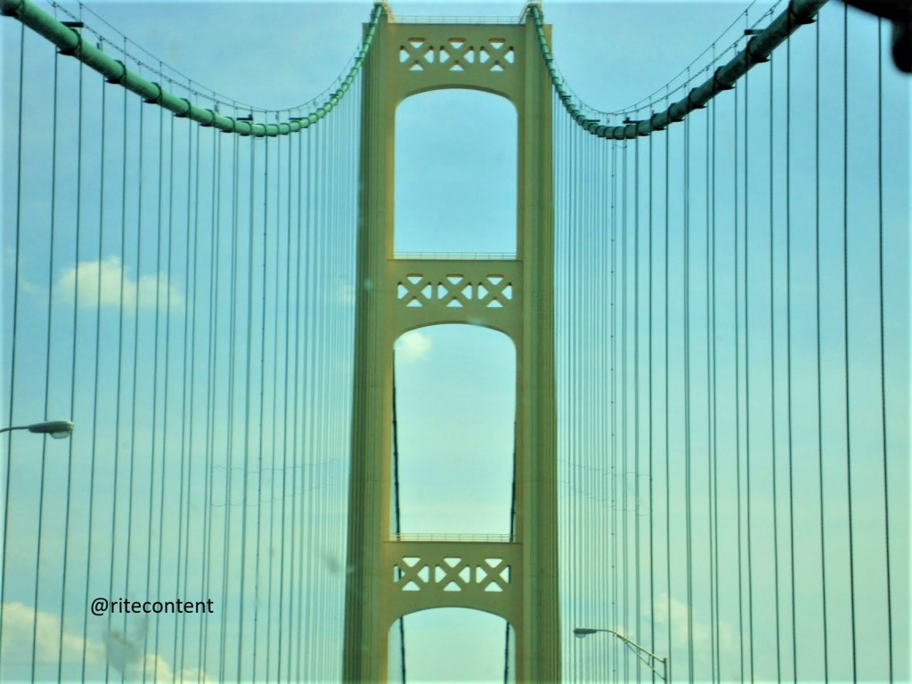 View of the suspension cables on Mackinac bridge