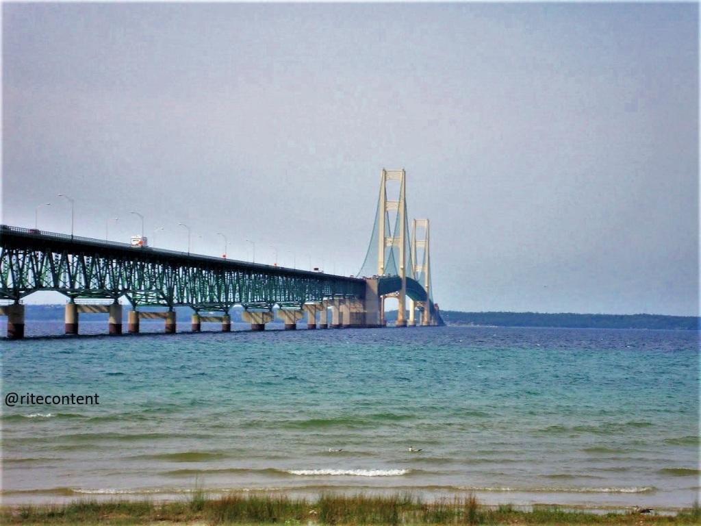 Mackinac Suspension Bridge extends into the Lake Huron to Upper Michigan
